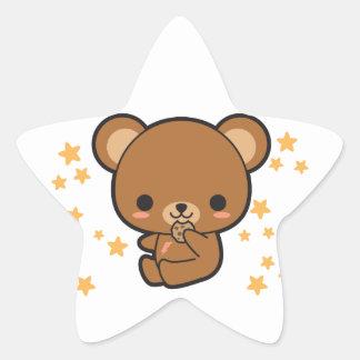 Oso de Kawaii Brown Pegatina En Forma De Estrella