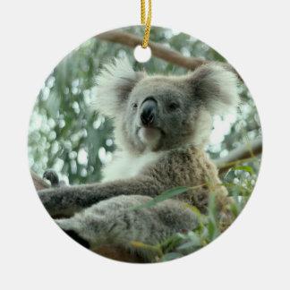 Oso de koala adorno navideño redondo de cerámica