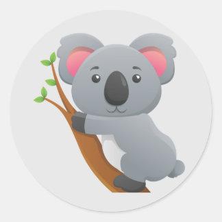 Oso de koala animado lindo pegatina redonda