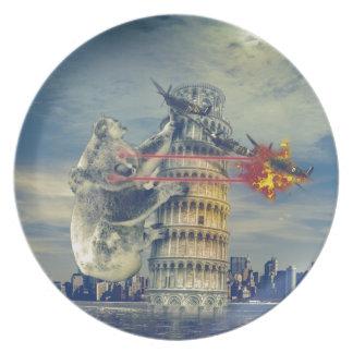 Oso de koala de la torre de Pisa divertido Platos De Comidas