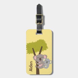 Oso de koala del bebé y mamá lindos para los niños etiquetas bolsa