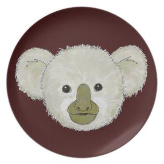 Oso de koala del cacao plato de cena