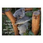 Oso de koala divertido, tarjeta de cumpleaños