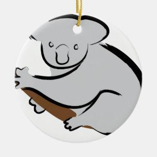 Oso de koala en árbol adorno navideño redondo de cerámica