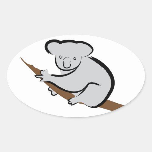 Oso de koala en árbol pegatina ovalada