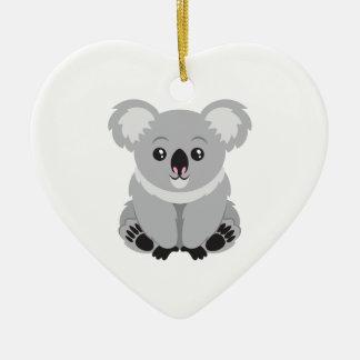 Oso de koala lindo adorno navideño de cerámica en forma de corazón