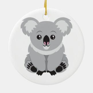 Oso de koala lindo adorno navideño redondo de cerámica
