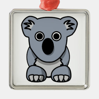Oso de koala lindo del dibujo animado adorno navideño cuadrado de metal