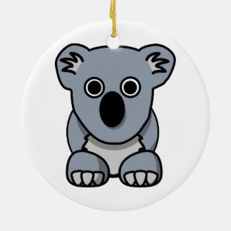 Oso de koala lindo del dibujo animado adorno navideño redondo de cerámica