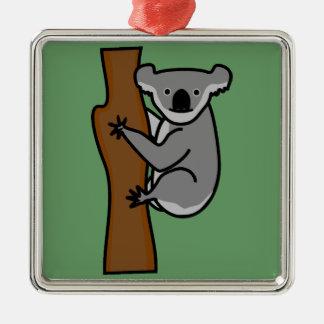 Oso de koala lindo en un árbol adorno navideño cuadrado de metal