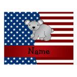 Oso de koala patriótico conocido personalizado postal