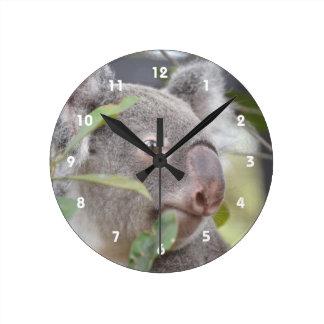oso de koala que mira c derecha reloj redondo mediano