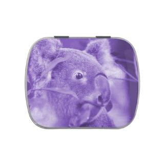 oso de koala que mira el marsupial púrpura derecho latas de dulces