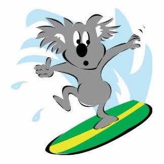 oso de koala que practica surf divertido escultura fotografica