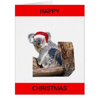 Oso de koala Santa Tarjeta De Felicitación Grande