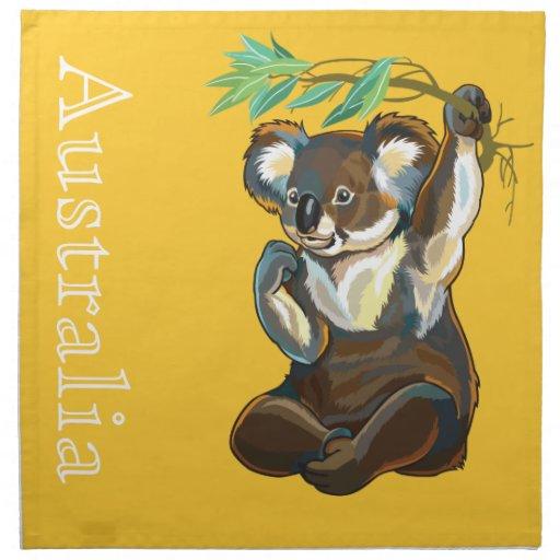 oso de koala servilletas imprimidas