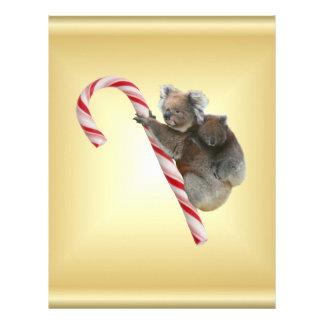 Oso de koala y bastón de caramelo de Joey Cub Plantillas De Membrete