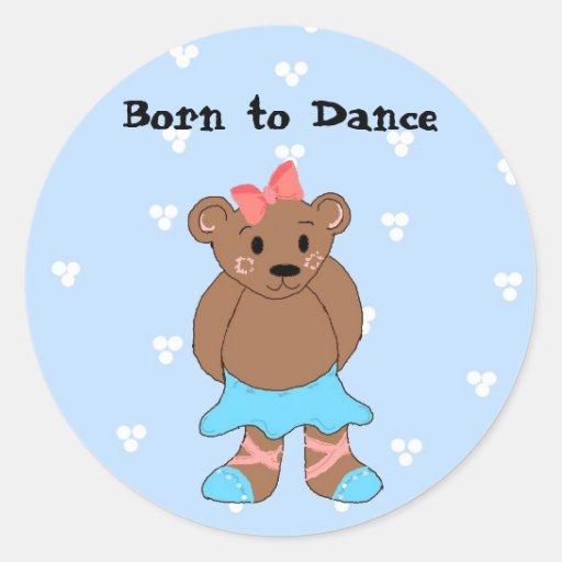 Oso de la bailarina en azul pegatina redonda