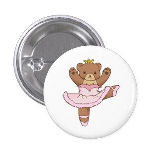 Oso de la bailarina en botón rosado del tutú pin redondo de 1 pulgada