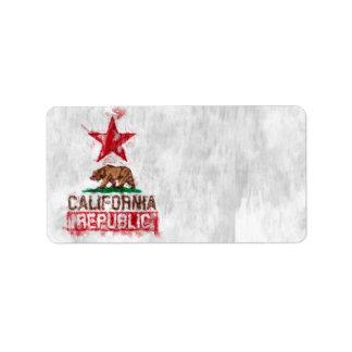 Oso de la bandera de la república de California en Etiqueta De Dirección