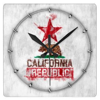 Oso de la bandera de la república de California en Reloj Cuadrado