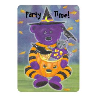 Oso de la calabaza del feliz Halloween con el gato Anuncios