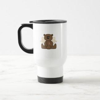 Oso de la conciencia del autismo del muchacho tazas de café