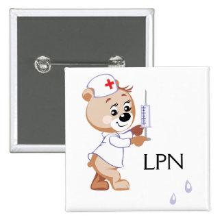 Oso de la enfermera pin cuadrado