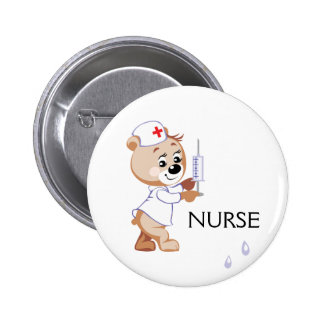 Oso de la enfermera pin redondo de 2 pulgadas