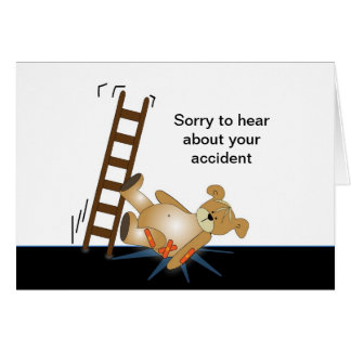 Oso de la escalera que cae abajo tarjeta de felicitación