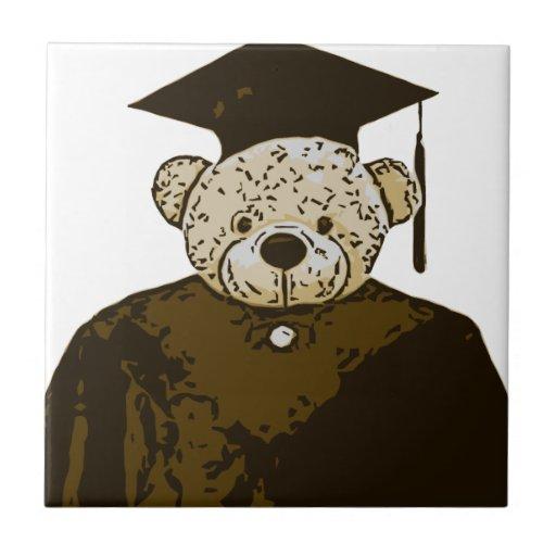 Oso de la graduación azulejo cuadrado pequeño