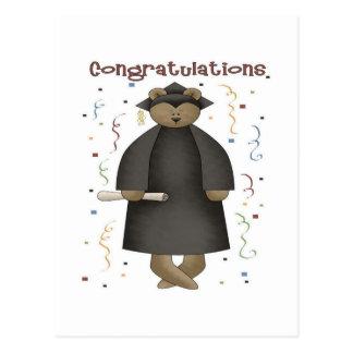 Oso de la graduación de la enhorabuena postal