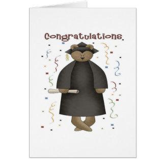 Oso de la graduación de la enhorabuena tarjeta de felicitación