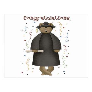 Oso de la graduación de la enhorabuena tarjetas postales