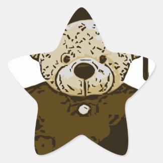 Oso de la graduación pegatina en forma de estrella