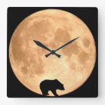 Oso de la Luna Llena Reloj De Pared