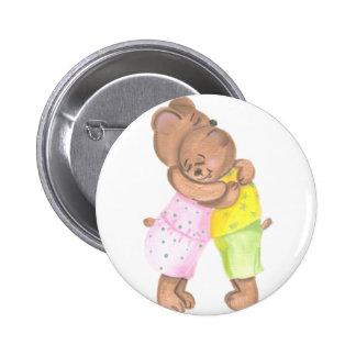 Oso de la madre y su abrazo de Cub Pin Redondo 5 Cm