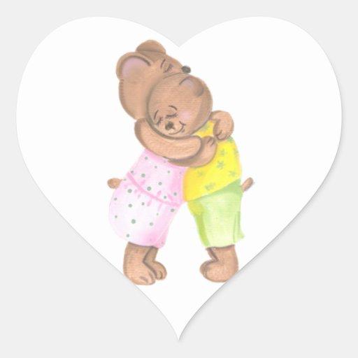 Oso de la madre y su amor de la demostración de calcomanías corazones personalizadas