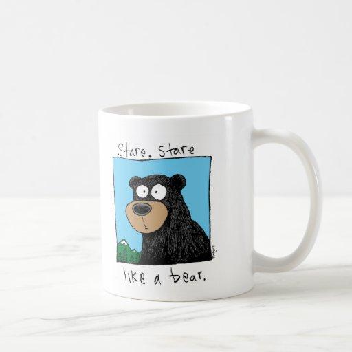 oso de la mirada fija tazas de café