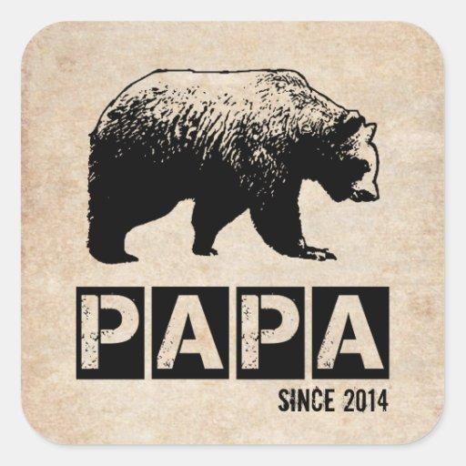 Oso de la papá del Grunge desde 2014, negro Calcomanía Cuadradas Personalizadas