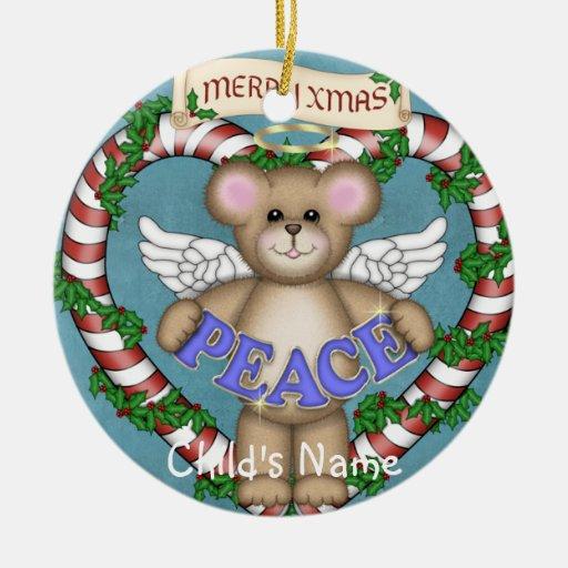 Oso de la paz del ángel del navidad adorno navideño redondo de cerámica