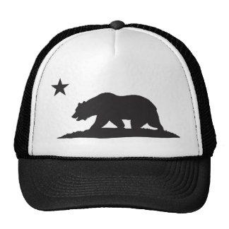 Oso de la república de California - negro Gorro De Camionero