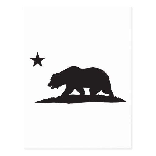 Oso de la república de California - negro Tarjeta Postal