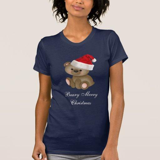 Oso de las Felices Navidad de Beary en el gorra de Playeras