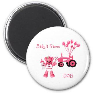 Oso de los rosas bebés e imán rosado del tractor