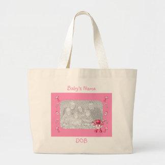 Oso de los rosas bebés y bolso rosado de la foto d bolsa de tela grande