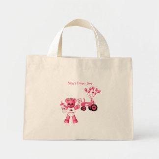 Oso de los rosas bebés y bolso rosado del tractor bolsa de tela pequeña