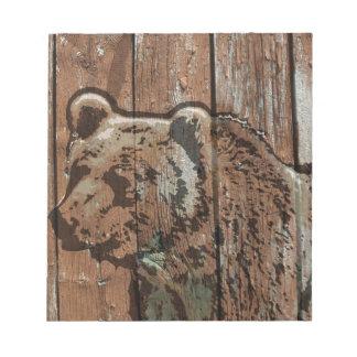 Oso de madera rústico bloc de notas
