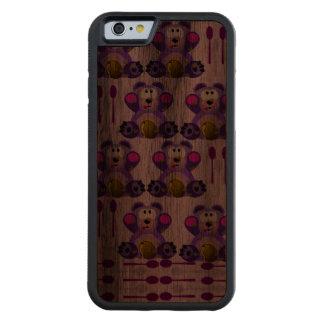 Oso de miel del FMS con las cucharas Funda De iPhone 6 Bumper Nogal
