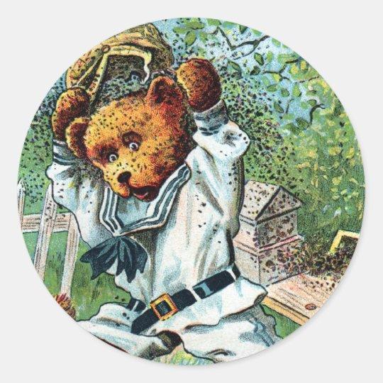 Oso de miel Harry - letra H - oso de peluche del Pegatina Redonda